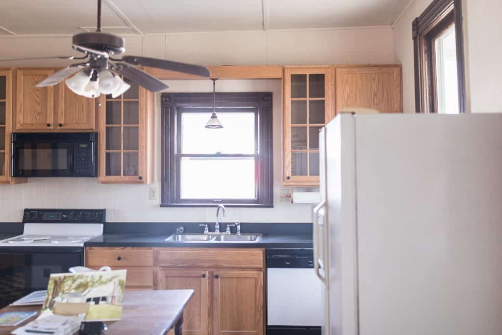 outdated farmhouse kitchen before renovation