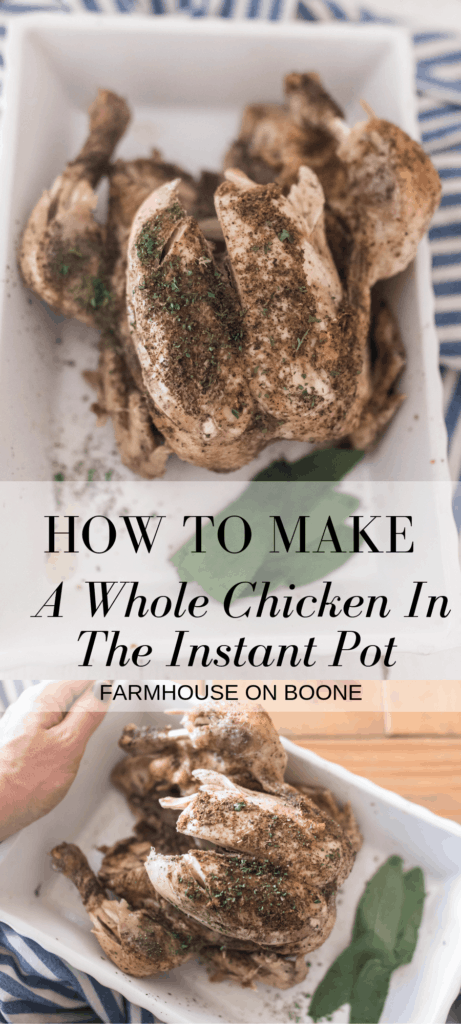 two pictures of Instant Pot Whole Chicken