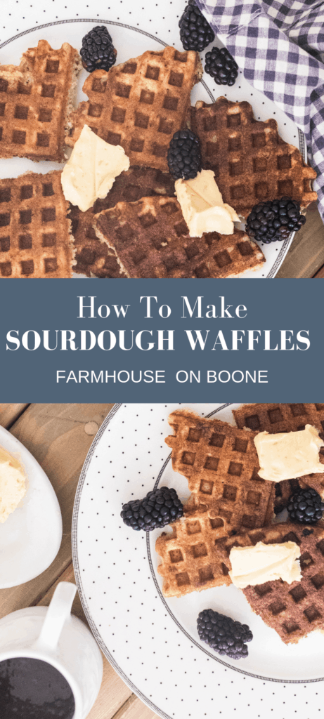 Sourdough waffles on a white plate topped with butter and blackberries