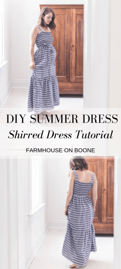 two pictures of a women wearing a DIY summer dress - shirred dress