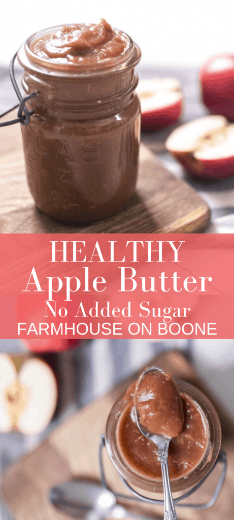 two pictures of apple butter in mason jars surrounded by apples