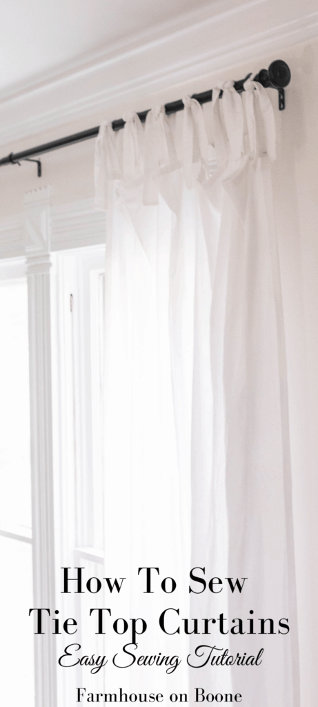 white tie top curtains on a black curtain rod - how to make curtains