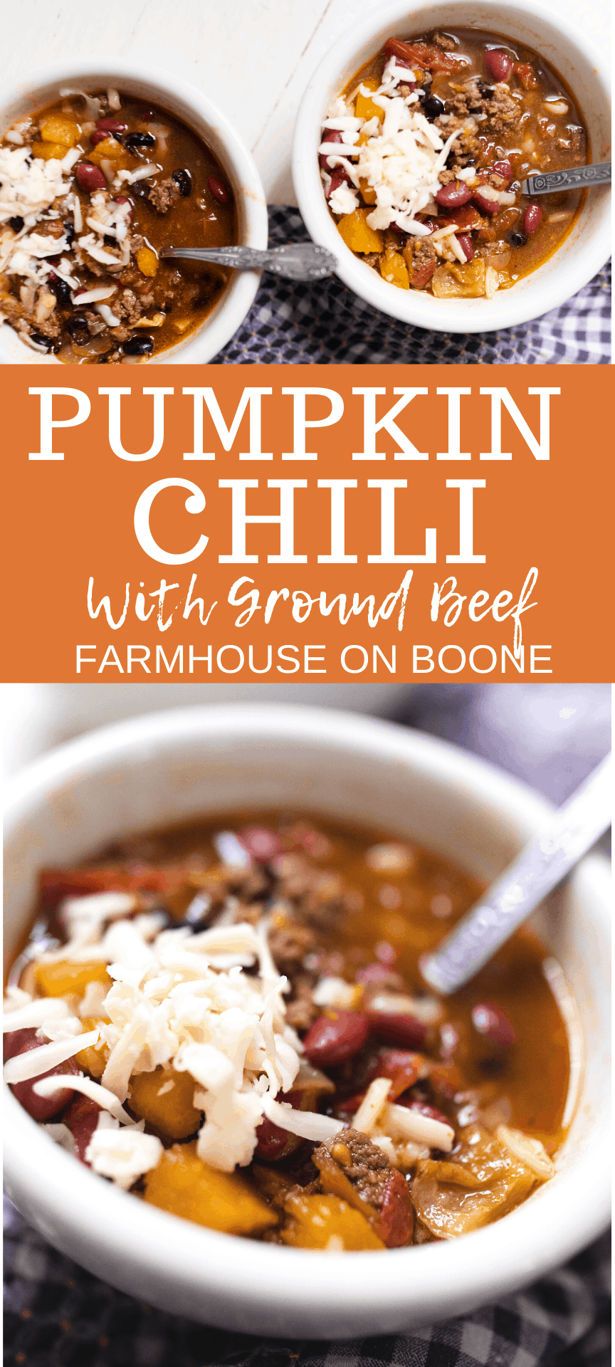 two pictures of pumpkin chili loaded with ground beef, beans and cheese