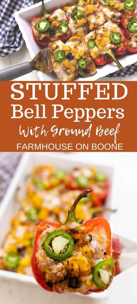two pictures of stuffed bell peppers with ground beef.