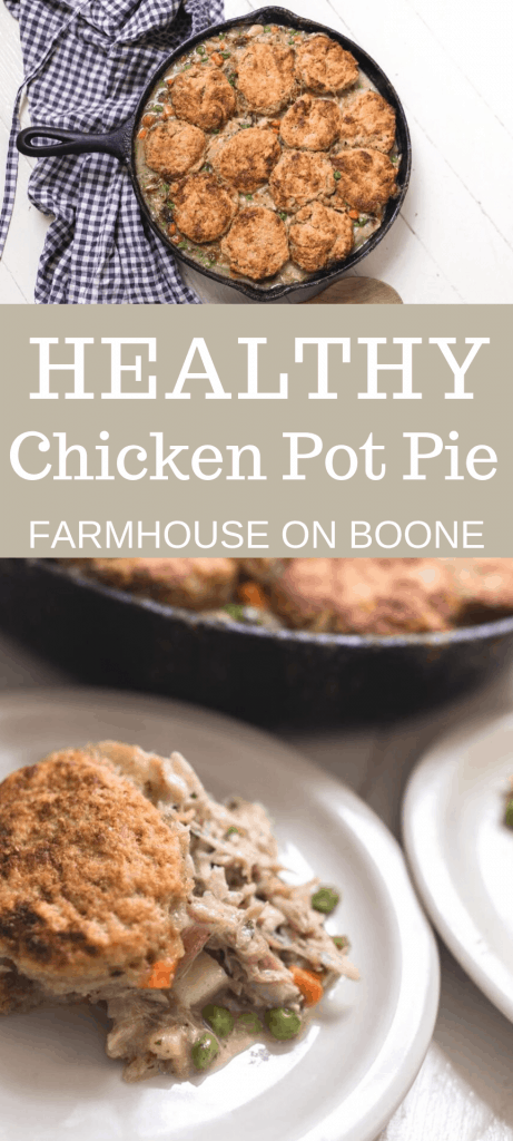 two pictures of the best chicken pot pie recipe with sourdough biscuits