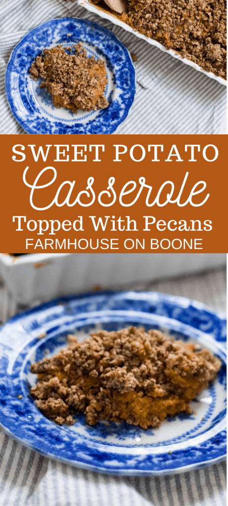 two pictures of sweet potato casserole with pecans on blue and white dishes