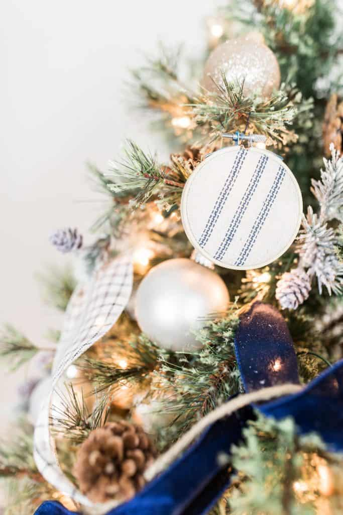 close up of Christmas tree with homemade grain-sack ornaments