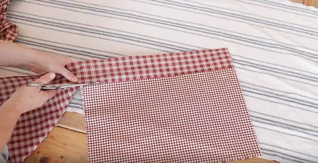 cutting two pockets with coordinating fabric
