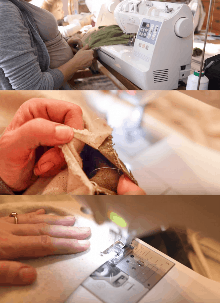 Step-by-step picture of women sewing the Mei Tai all together