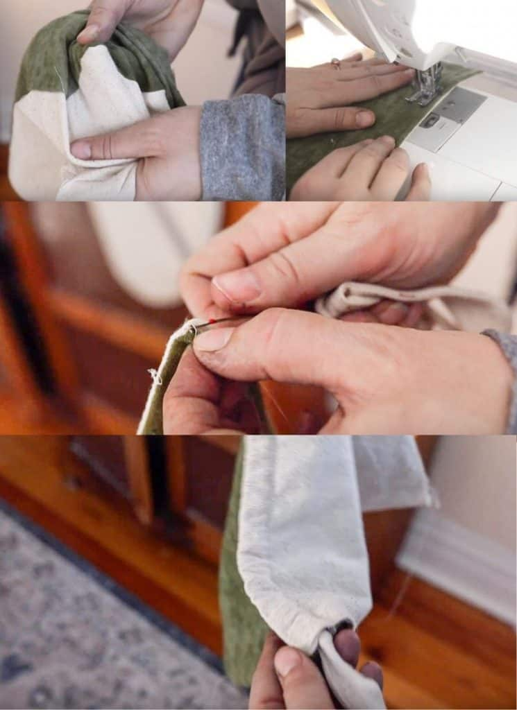 picture collage of step-by-step photos of making the hood for a DIY Mei Tai