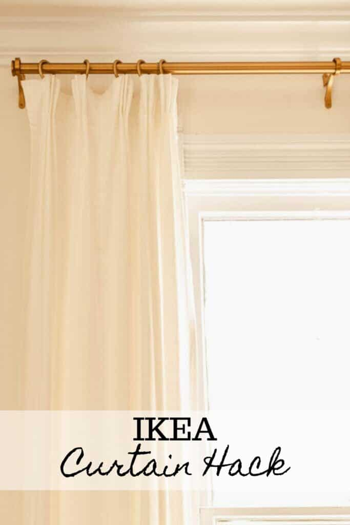 Ikea curtain hack using Rivta curtains and pleater hooks hung with brass curtain clips and a brass curtain rod