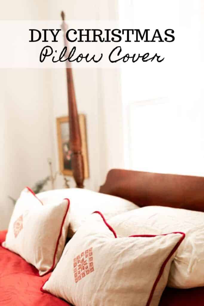 vintage four poster bed with embroidered DIY Christmas pillows