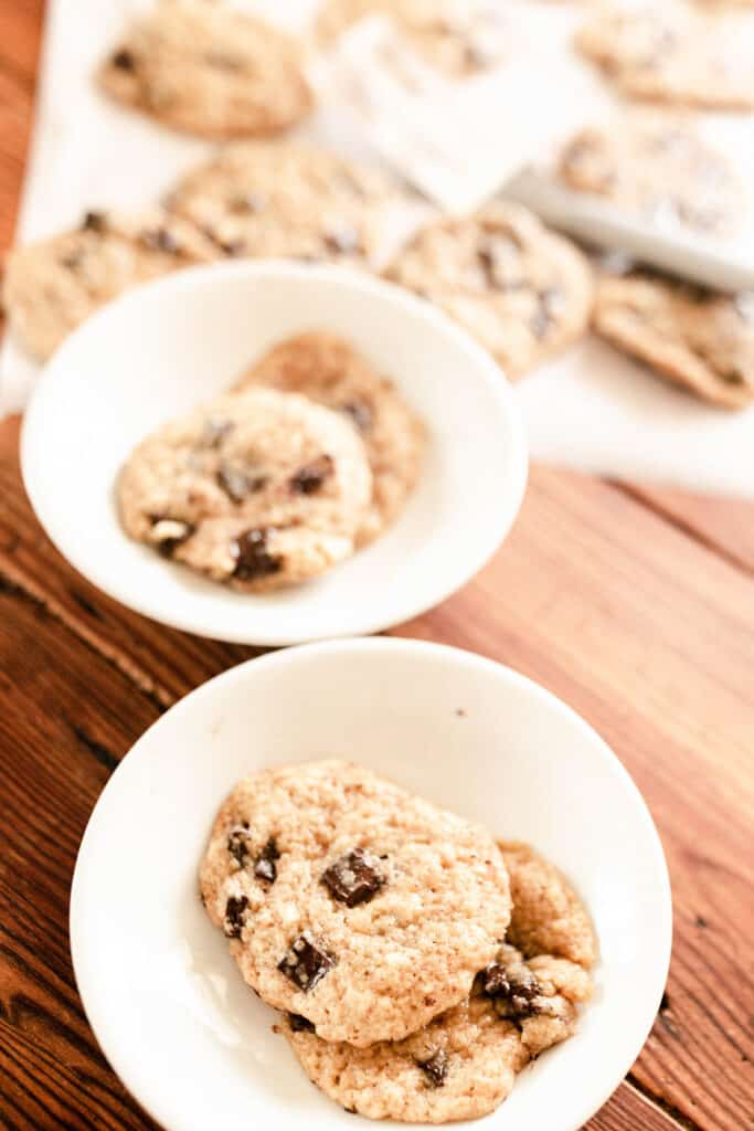 two bowls of sourdough cookies on a table