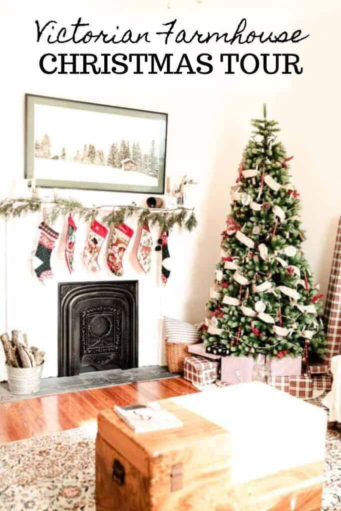 farmhouse Christmas decor in a living room with green, white, and reds