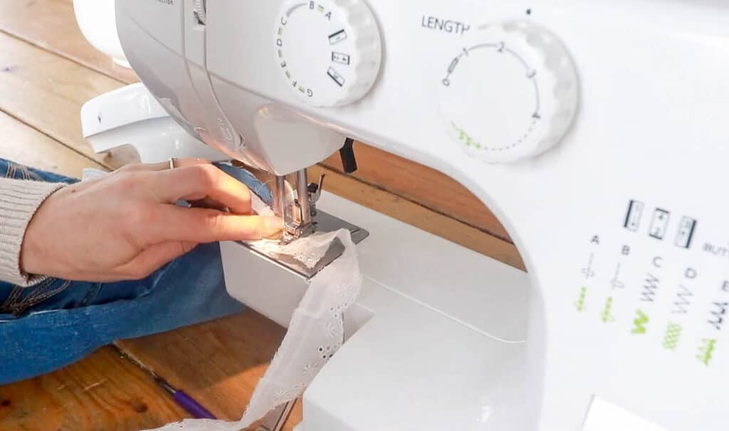 sewing eyelet trim together with a sewing machine